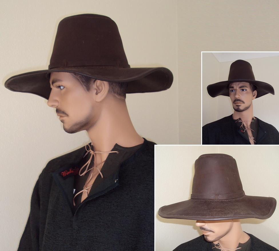 7b152134a77bc7 Renaissance Period Wide Brim Heavy Leather Hat